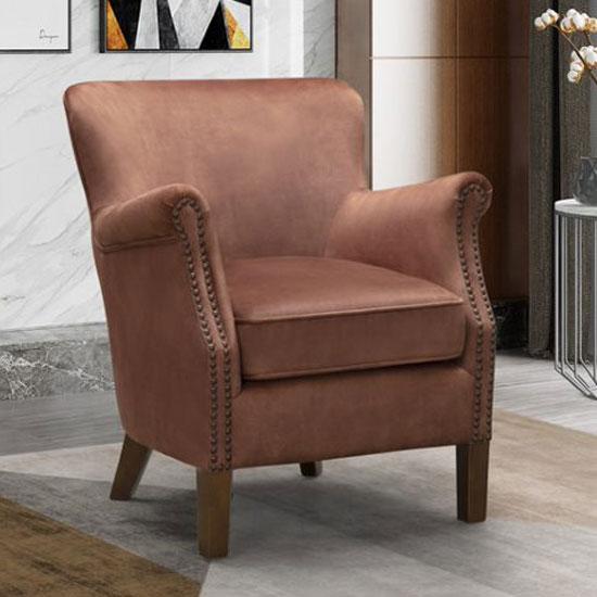 View Harlow velvet upholstered vintage armchair in copper