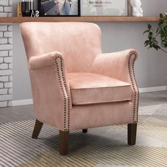View Harlow velvet upholstered vintage armchair in coral