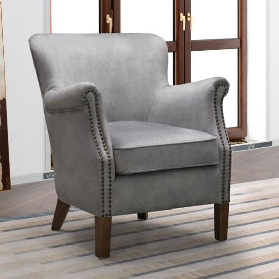 View Harlow velvet upholstered vintage armchair in pewter grey