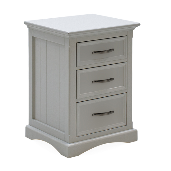 Harlow Wooden Bedside Table In Grey