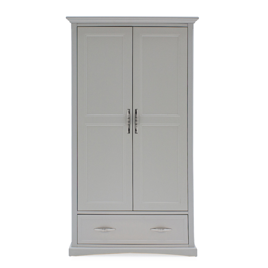Harlow Wooden Wardrobe In Grey With 2 Doors