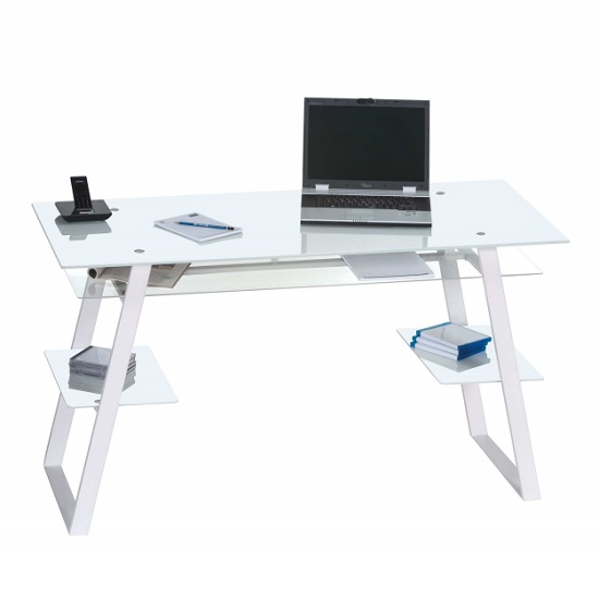 Harlow Glass Computer Desk In White With Metal Legs 30930