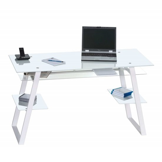 Harlow Glass Computer Desk In White With Metal Legs
