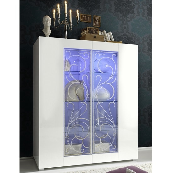 Harlow Display Cabinet In Gloss White And Glitters With LED