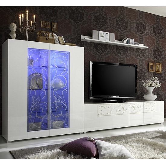 Harlow Living Room Set In Gloss White And Glitters With LED