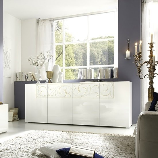 Harlow Sideboard In Gloss White And Glitters With 4 Doors