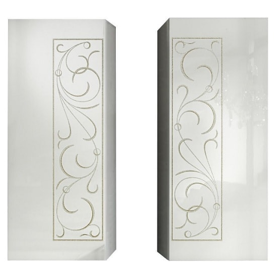 Harlow Storage Cabinet In Gloss White And Glitters In A Pair