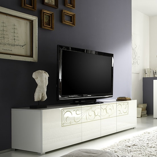 Harlow TV Stand In Gloss White And Glitters With 4 Doors