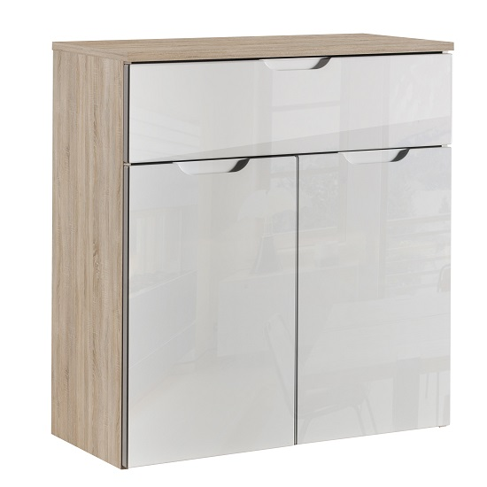 Harold Compact Sideboard In Brushed Oak And White Fronts_1