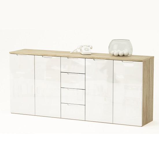 Harold Large Sideboard In Brushed Oak And White Gloss Fronts