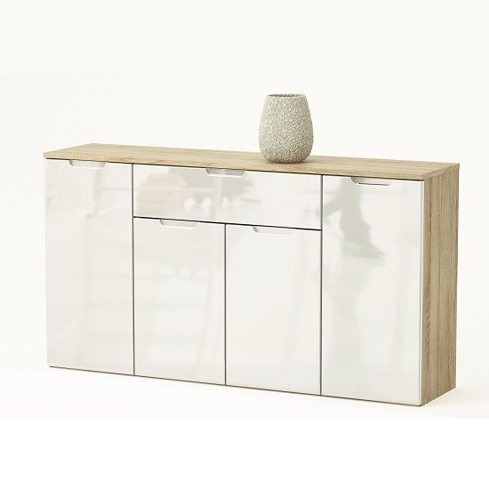 Harold 4 Doors Sideboard In Brushed Oak And White Gloss Fronts