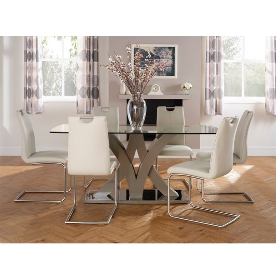 Harper Glass Dining Table In Taupe With 6 Harley Dining Chairs_2