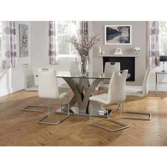 Harper Glass Dining Table In Taupe With 6 Harley Dining Chairs