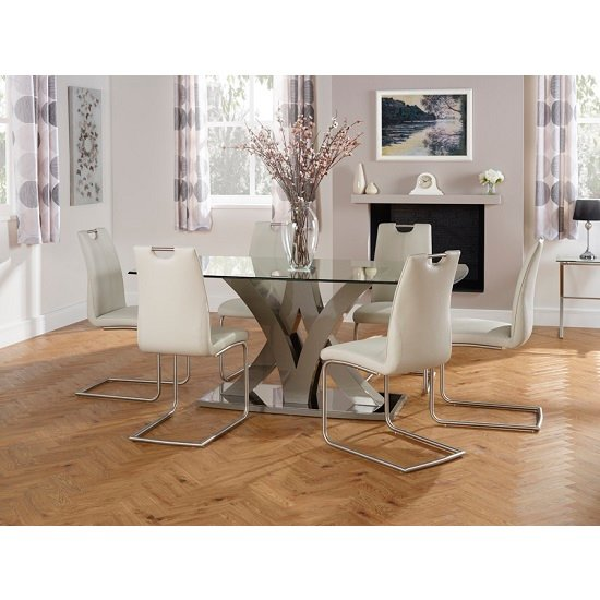 Harper Glass Dining Table In Taupe With 6 Harley Dining Chairs_1