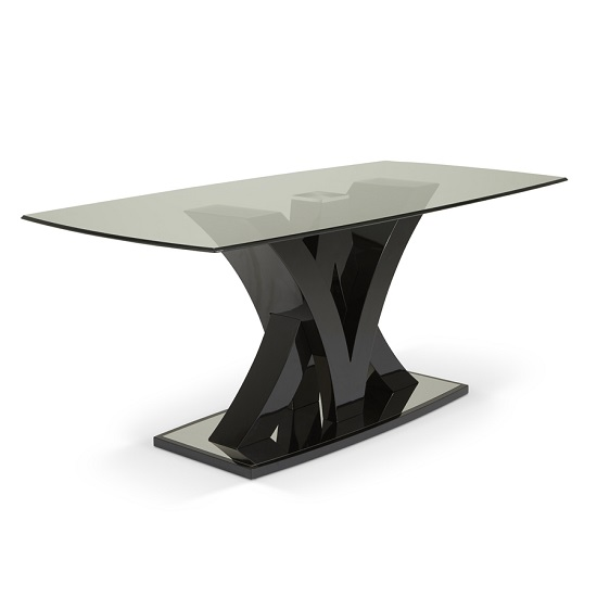 Harper Glass Dining Table In Black With High Gloss Base