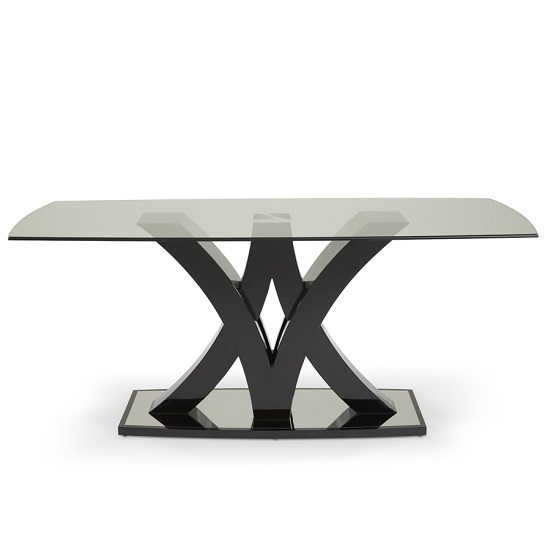 Harper Glass Dining Table In Black With High Gloss Base_3