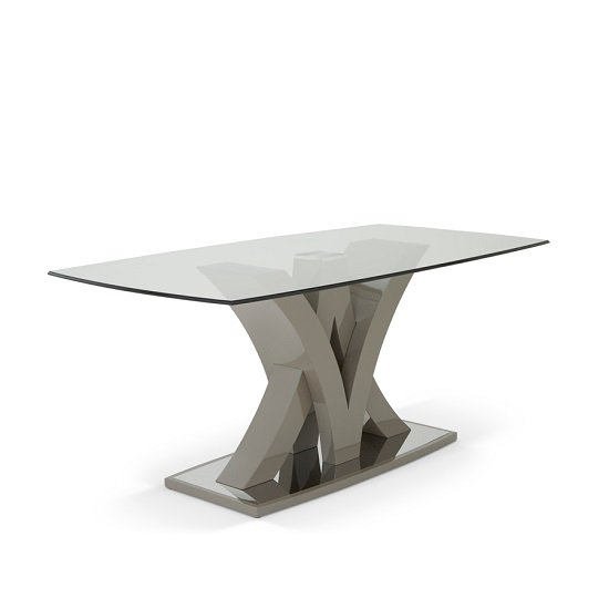 Harper Glass Dining Table In Taupe With High Gloss Base