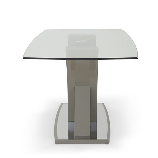 Harper Glass Dining Table In Taupe With High Gloss Base_2