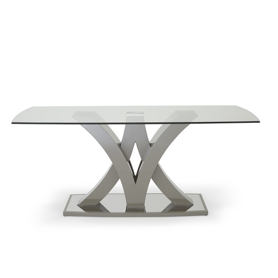 Harper Glass Dining Table In Taupe With High Gloss Base_3