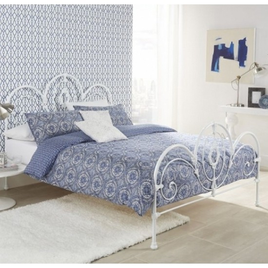 Harriet Metal King Size Bed In White