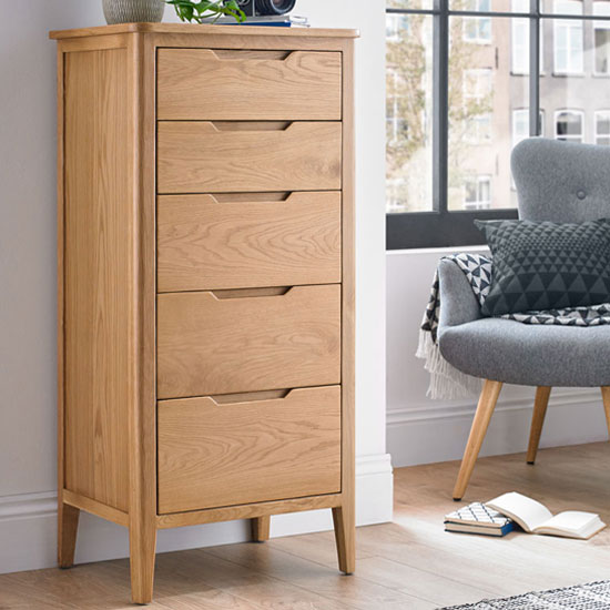 Harriet Tall Chest Of Drawers In Robust Solid Oak With 5 Drawers
