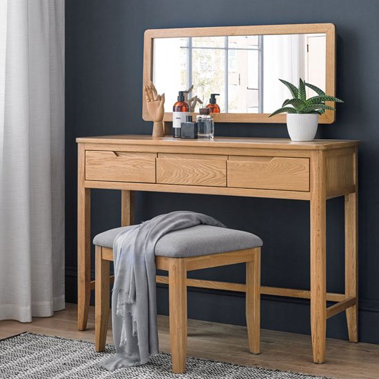 Harriet Wooden 3Pc Dressing Table Set In Robust Solid Oak