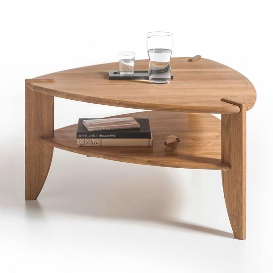 Harriet Wooden Coffee Table In Knotty Oak With Undershelf