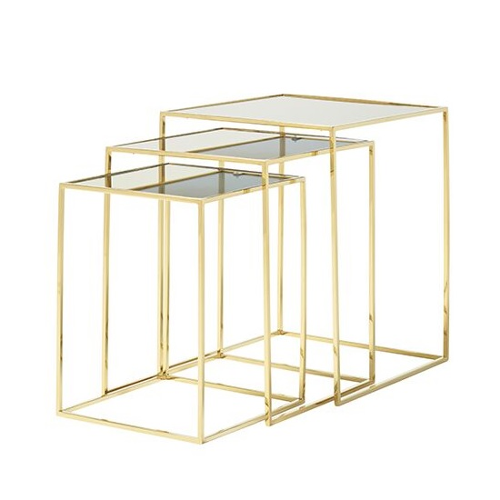 Harris Mirrored Top Nest Of 3 Tables With Polsihed Gold Legs