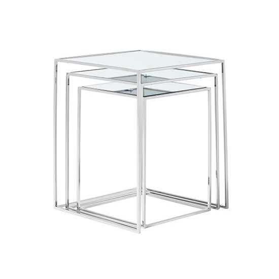 Harris Mirrored Top Nest Of 3 Table And Polished Stainless Steel_2