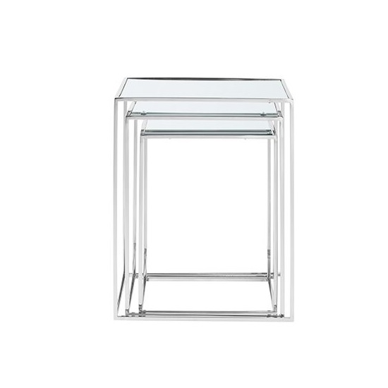 Harris Mirrored Top Nest Of 3 Table And Polished Stainless Steel_3