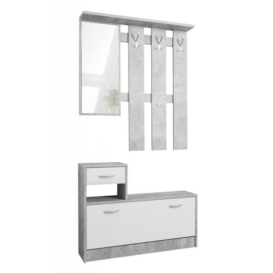 Harrison Shoe Storage Cabinet In Structured Concrete And White_2