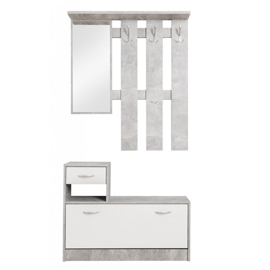 Harrison Shoe Storage Cabinet In Structured Concrete And White_3