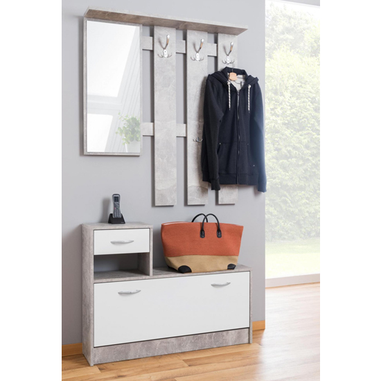 Harrison Shoe Storage Cabinet In Structured Concrete And White_4