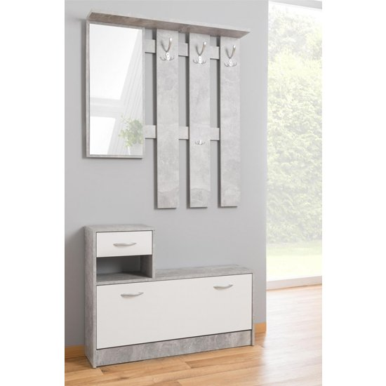 Harrison Shoe Storage Cabinet In Structured Concrete And White_1