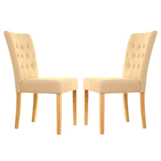 Harrow Biscuit Fabric Dining Chairs In Pair With Walnut Legs