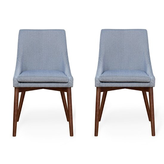 Product photograph showing Harrow Grey Fabric Dining Chairs In Pair With Walnut Legs