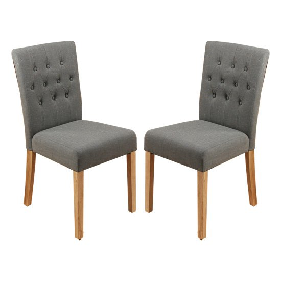 Harrow Slate Fabric Dining Chairs With Walnut Legs In Pair