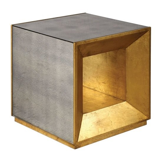 Harry Mirrored Cube Side Table In Antique Gold Leaf