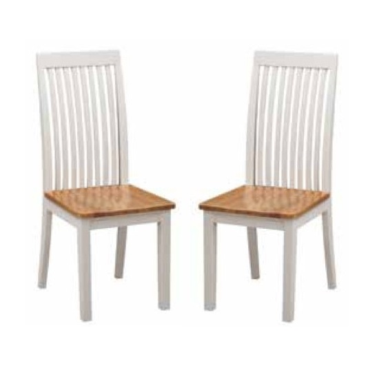 Hart Wooden Slatback Dining Chairs In Stone Painted In A Pair_1