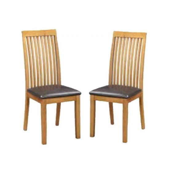 Hart Wooden Slatback Dining Chairs In Oak In A Pair_1