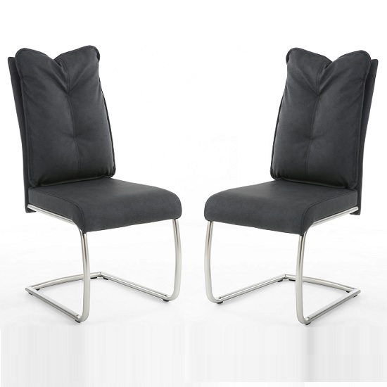 Hartford Modern Dining Chair In Dark Grey Fabric In A Pair