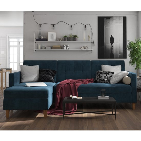 Hartford Sectional Fabric Storage Chaise Sofa Bed In Blue_2