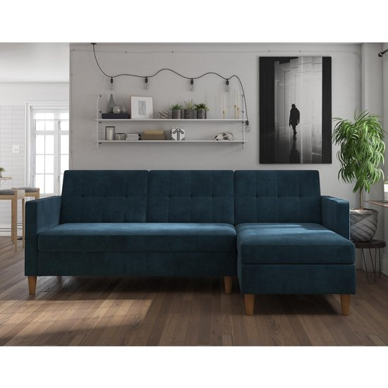 Hartford Sectional Fabric Storage Chaise Sofa Bed In Blue_3