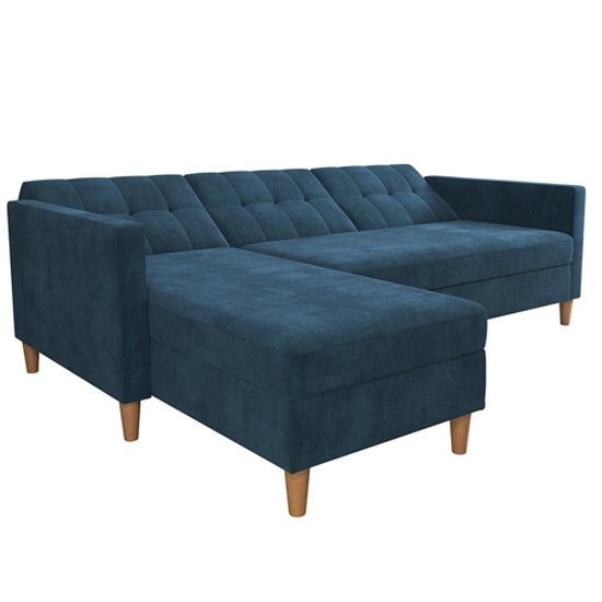 Hartford Sectional Fabric Storage Chaise Sofa Bed In Blue_6