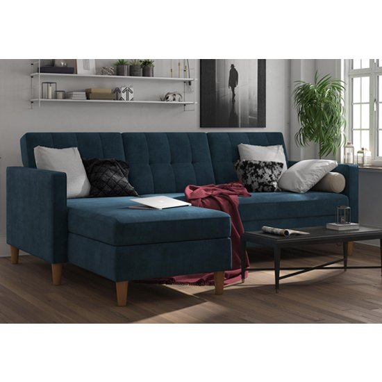 Hartford Sectional Fabric Storage Chaise Sofa Bed In Blue_1