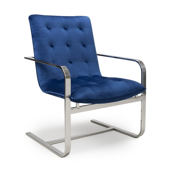 Harting Brushed Velvet Armchair In Blue With Chrome Frame