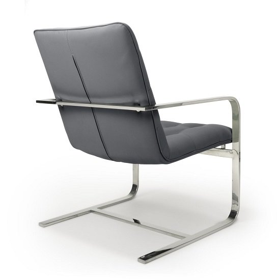 Harting Faux Leather Armchair In Grey With Chrome Frame_2