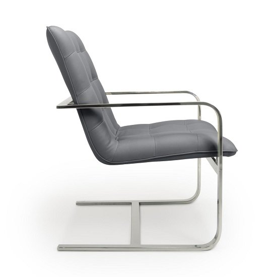 Harting Faux Leather Armchair In Grey With Chrome Frame_3