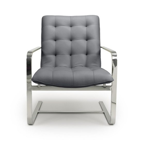Harting Faux Leather Armchair In Grey With Chrome Frame_4