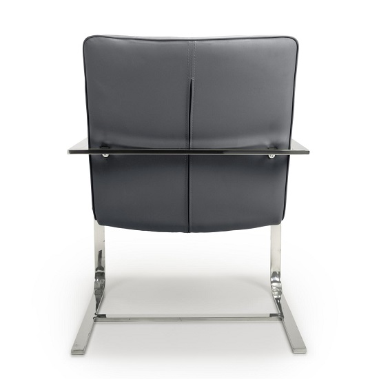 Harting Faux Leather Armchair In Grey With Chrome Frame_5